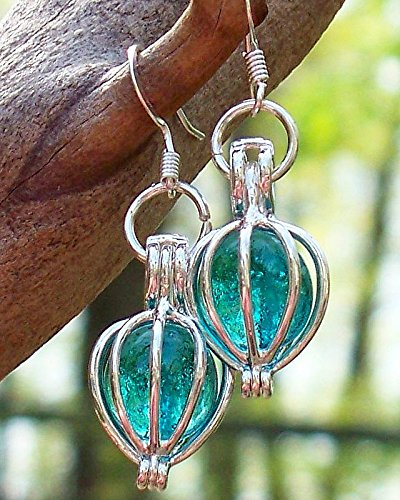 Recycled Vintage Mason Jar Drop Earrings (Vintage Blue Mason Jar)