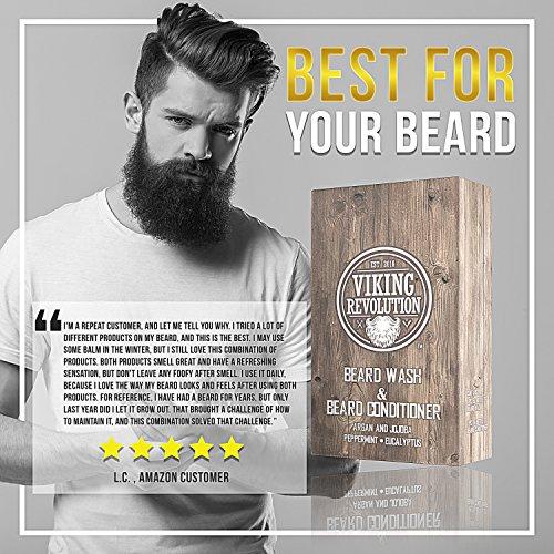 Best Deal Beard Wash & Beard Conditioner Set w/Argan & Jojoba Oils - Softens & Strengthens - Natural Peppermint and Eucalyptus Scent - Beard Shampoo w/Beard Oil (5 oz) by Viking Revolution (Image #5)