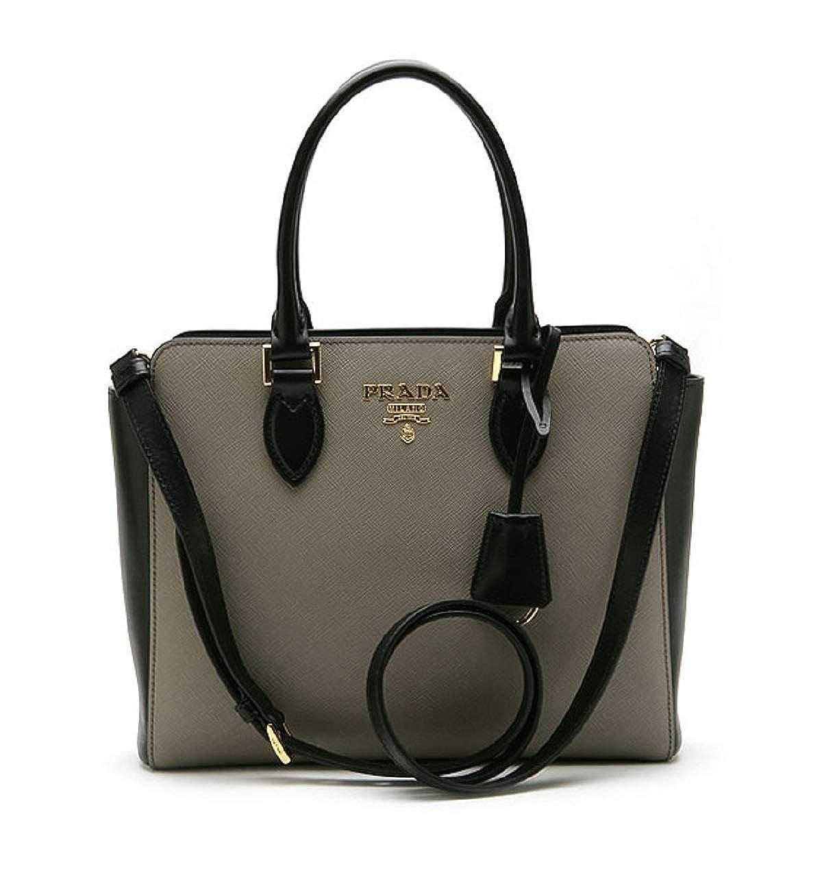 Prada Saffiano Leather Argilla Nero Two-Toned Black and Gray Handbag  1BA113  Handbags  Amazon.com