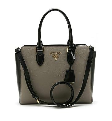 eb381d375b81bb Prada Saffiano Leather Argilla Nero Two-Toned Black and Gray Handbag  1BA113: Handbags: Amazon.com