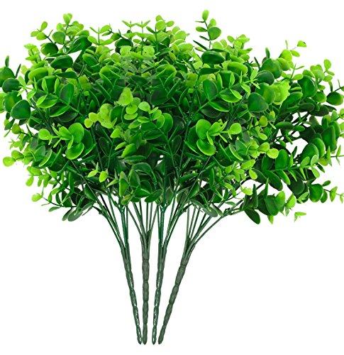 Didadi 4pieza arbustos artificiales sintética plástico hojas de eucalipto, arbustos falsa Simulación follaje plantas,...
