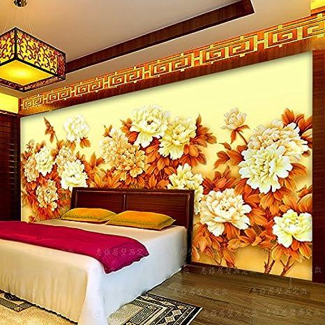AQSGH Seamless gran mural/dormitorio salón TV fondo de pantalla/sofá estudio fondo de pantalla/rico peonía pintura de pared, patrón tejido/cuadrado (splicing): Amazon.es: Bricolaje y herramientas