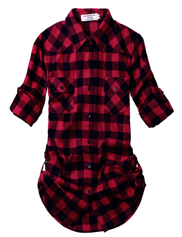 2021 Checks 1 Match Women's Long Sleeve Flannel Plaid Shirt