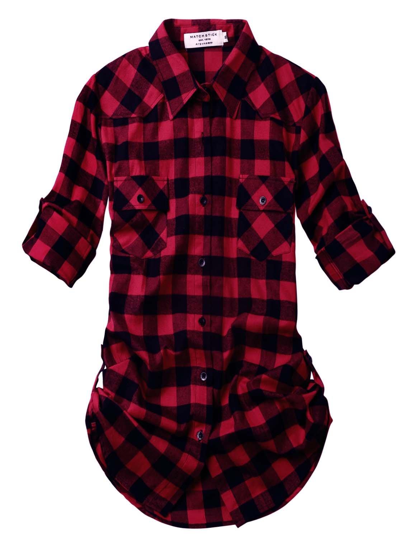 Match Women's Long Sleeve Plaid Flannel Shirt #2021 (X-Large, 2021 Checks#1)