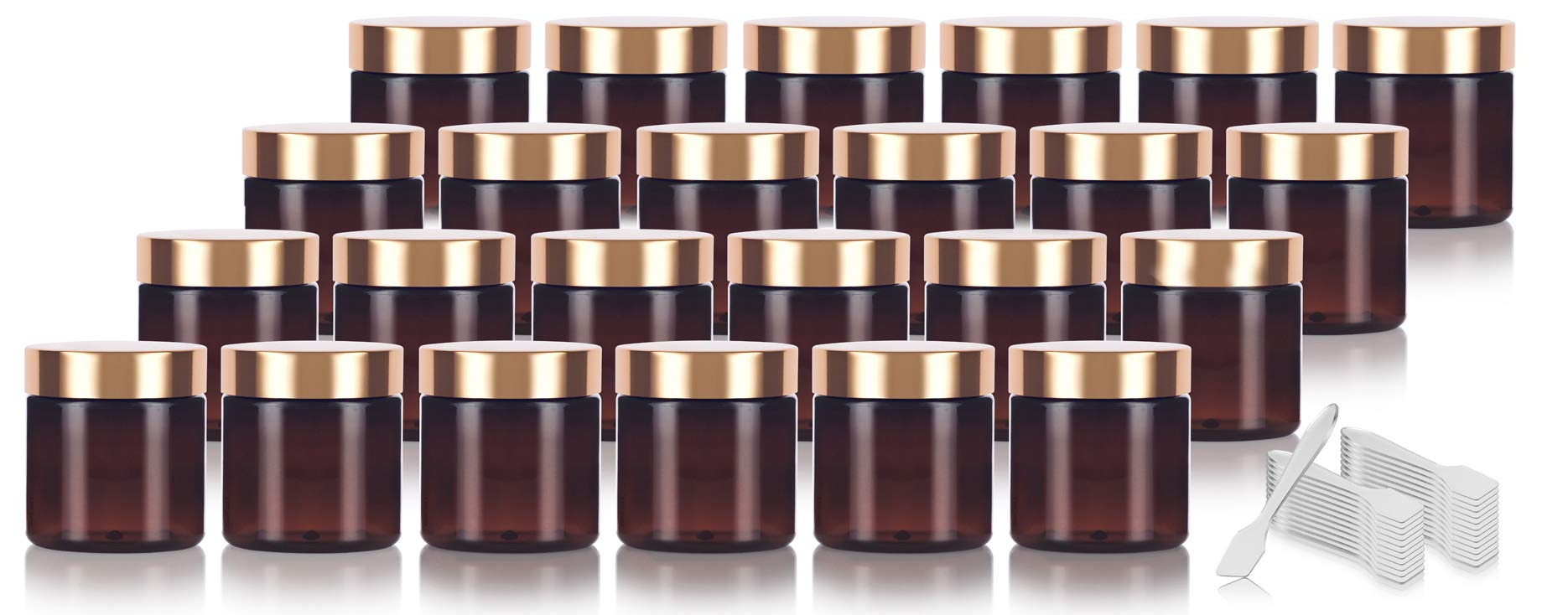 Amber PET Plastic (BPA Free) Refillable Jar with Gold Metal Overshell Lid - 4 oz (24 Pack) + Spatulas