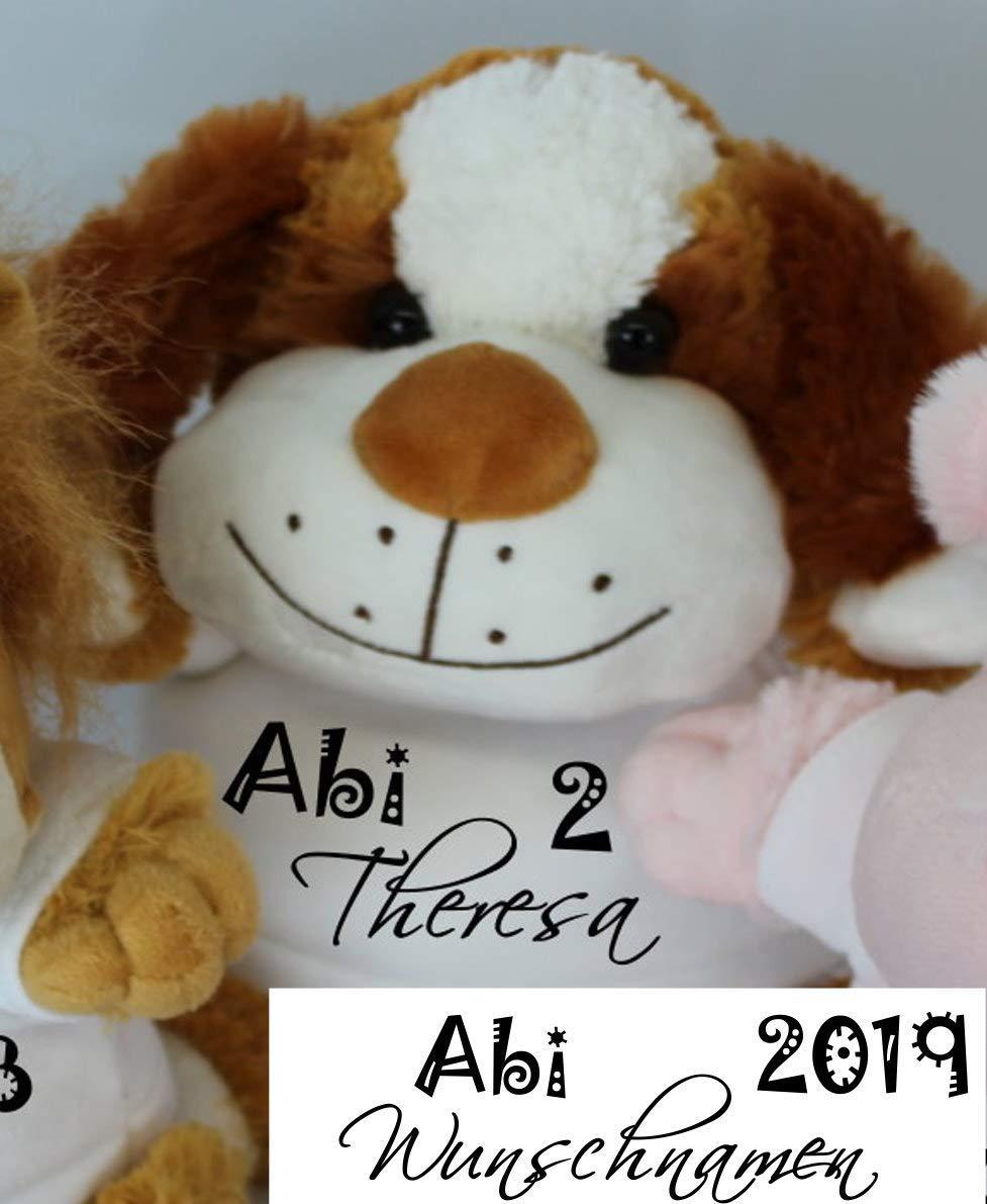 Geschenk zum Abitur ABI 2019 Kuscheltier HUND mit pers/önlichen Aufdruck Wunsch Namen personalisiertes