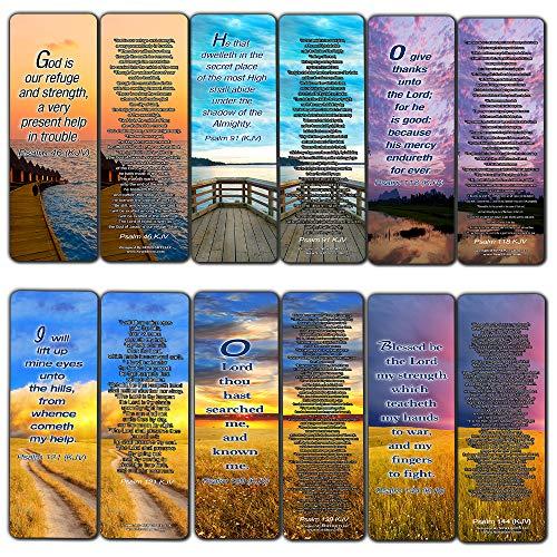 Psalm Bookmarks Cards (KJV Version - 12 Pack) - Christian KJV Version Bible Scripture Prayer Cards - Psalm 46, Psalm 91, Psalm 118, Psalm 121, Psalm 139, Psalm 144 - Bible Study Religious Gifts