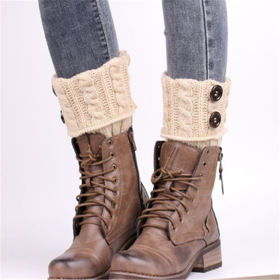UNKE Winter Warmer Crochet Leg Knit Boot Socks Womens Knit Twist Buttons Boot Socks