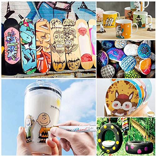 Paint Pens Paint Markers on Almost Anything Never Fade Quick Dry and Permanent, Oil-Based Waterproof Paint Marker Pen Set for Rocks Painting, Wood, Fabric, Plastic, Canvas, Glass, Mugs, DIY Craft