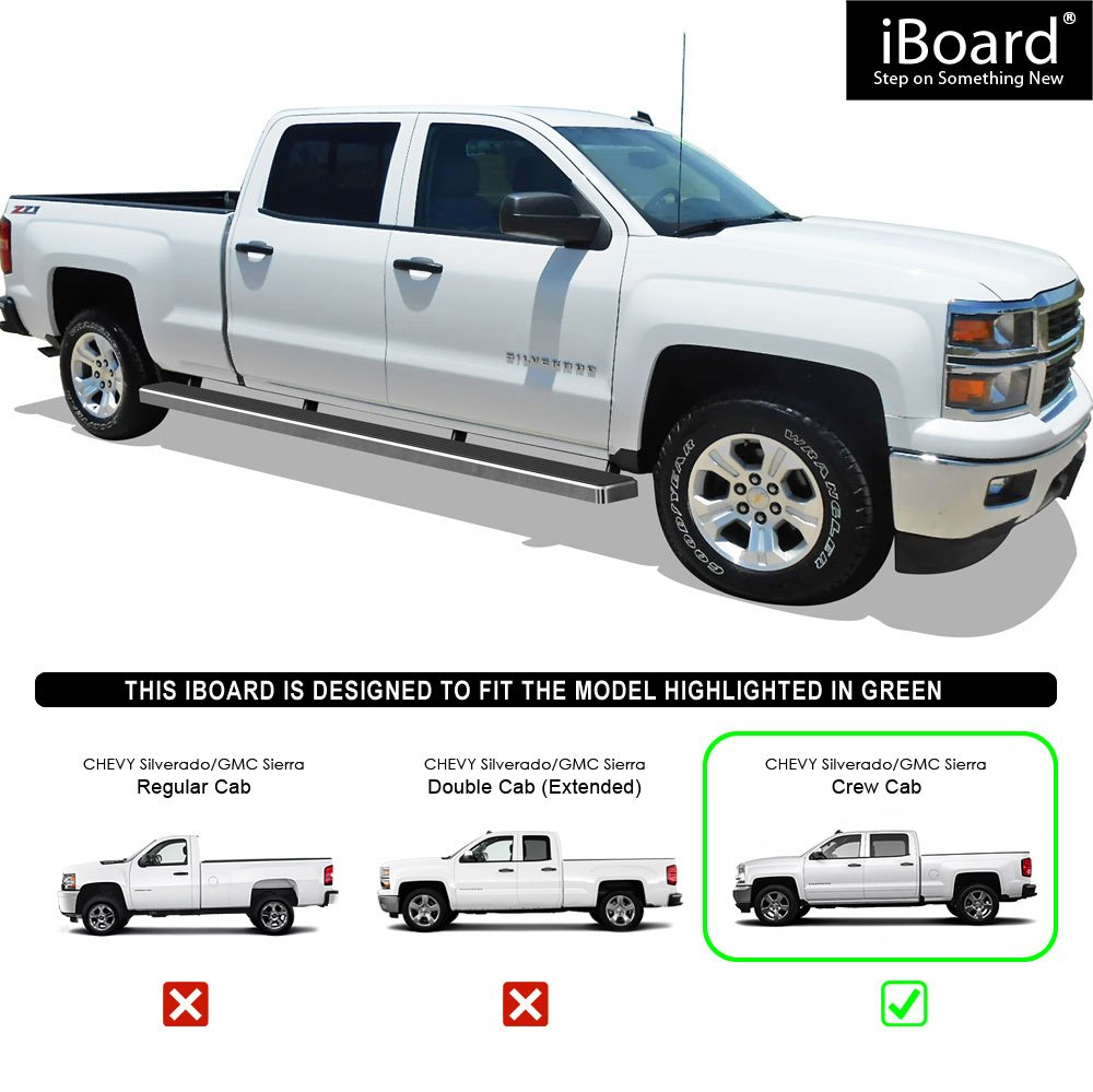 iBoard Running Boards Step Rails for 2007-2018 Chevy Silverado//GMC Sierra Crew Cab 6.5ft Bed Silver 5 inches WTW Side Steps Nerf Bars Incl. Diesel Models with DEF Tanks