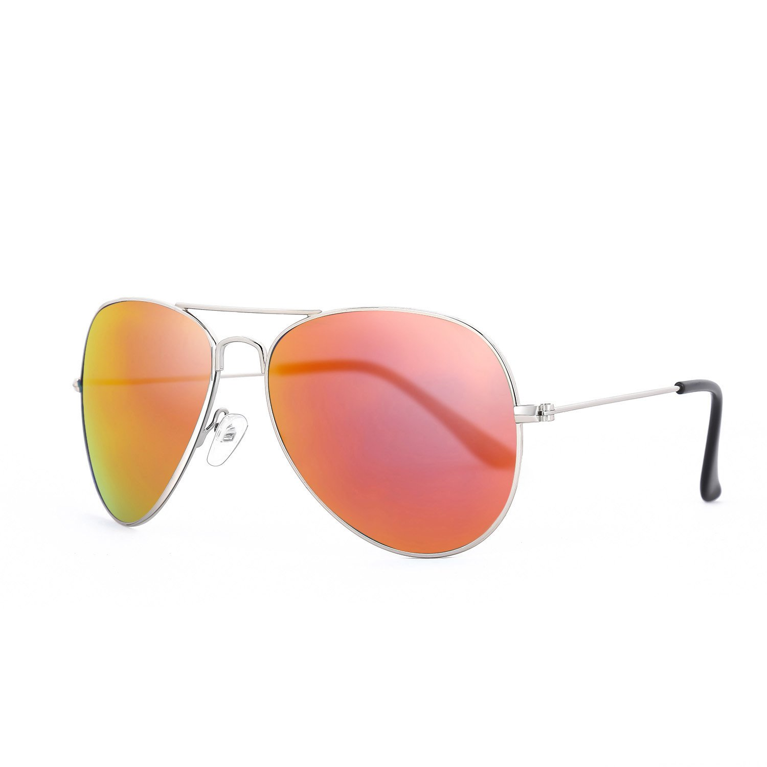 ROLF ROSSINI Polarized Aviator Sunglasses for Men Sun Shades with Case UV400 Protection (silver, Red Dad)