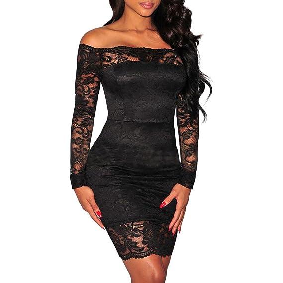 Xinan Vestido de fiesta de encaje de mujer sexy A Word Shoulder Vestido largo de cóctel
