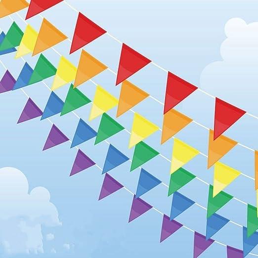 Multicolor banderines Banner 100 M 150 banderas banderines de nailon guirnalda de triángulo decoración bandera para boda cumpleaños fiesta al aire ...
