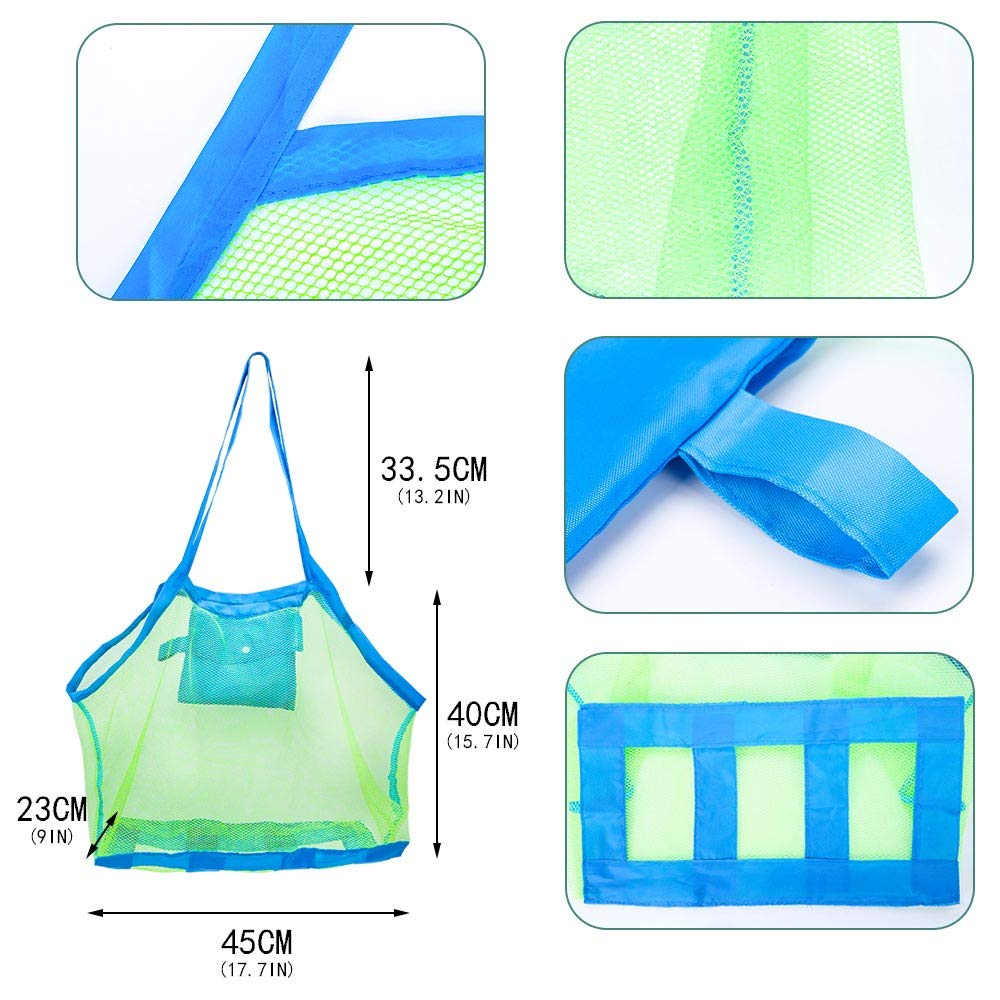 Sand Toy Bag Shell Bags Away from Sand or Water for Holding Childrens Toys Large /& Small Swimming Equipment Storage /& Other Beach Items Skedee 2 Pack Mesh Beach Bag Tote