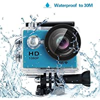 Yuntab HD 1080P 30fps 12 Mega Pixels Sport Mini DV Action Camera 2.0 LCD 170° Wide Angle Lens 30M Waterproof WiFi Remote Control Outdoor Sports (Blue)