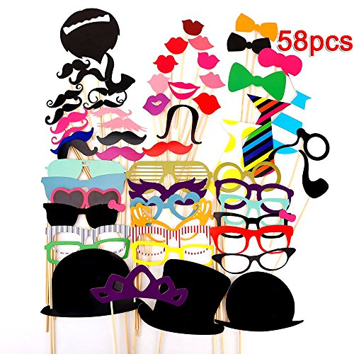 [Rubility 58 PCS DIY Photo Booth Props Stick for Wedding Party Halloween Costumes Multicolor] (Top Diy Halloween Costumes 2016)