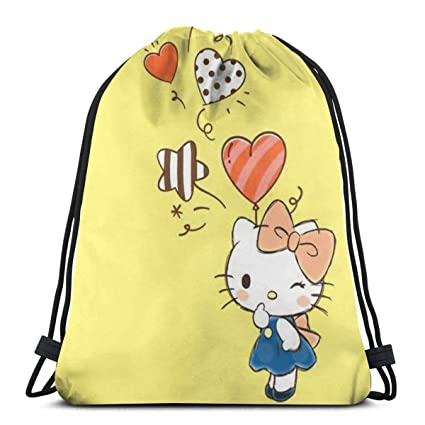 db2566b66 Image Unavailable. Image not available for. Color: MPJTJGWZ Classic  Drawstring Bag-Fashion Hello Kitty Gym Backpack Shoulder Bags Sport Storage  ...