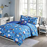 Comfort Spaces Kids Bedding Airplane Comforter Set for Boys - Twin/Twin XL Size - Blue Sky Toddler Bedspread Bed Sets with Sham