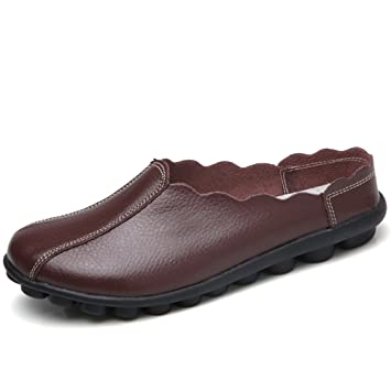 9be9c911507 GSHE Shoes Resbalón De Cuero Suave para Mujer En Mocasines Planos  Ocasionales De Los Holgazanes