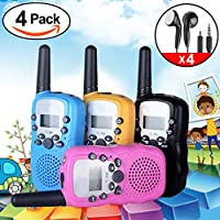 iGeeKid 4Pack Kids Walkie Talkie Two Way Radio Long Range 22 Channel with Earpiece and Speaker Mic LED Flashlight for Girls/Boys/Cruise/Camping(Black Blue Pink Yellow)
