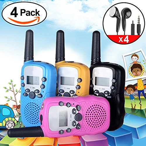 iGeeKid 4Pcs Kids Walkie Talkie Long Range Rechargeable Batteries with Earpiece and Speaker Mic LED Flashlight for Girls/Boys/Cruise/Camping(Black Blue Pink Yellow)