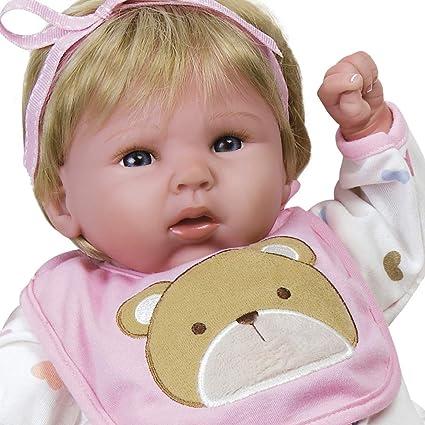 Paradise Galleries Muñeca niña Bebe Recien Nacida de Vinilo con Peso Agregado de 48cm Regalito Happy Teddy Bueno para Crear un Reborn