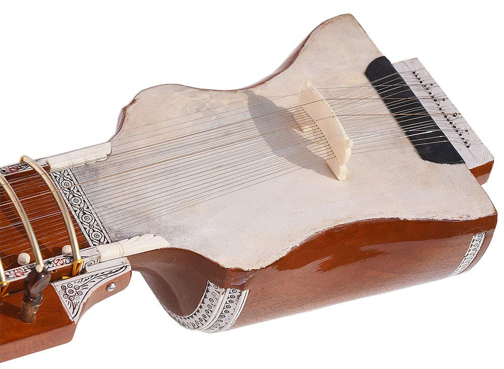 Dilruba Beginner Quality -Gig Bag, 4 Main String, 15 Sympathetic String, Tun Wood, Beautiful Craft Work, Sweet Sound, Natural Wood Colour, With Bow, Extra String & Rosin For Bhajan, Kirtan, Mantra by Kaayna Musicals (Image #4)