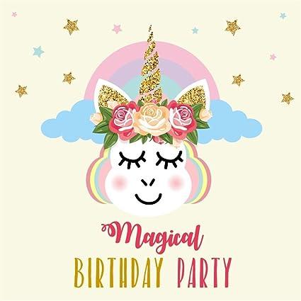 OFILA Unicorn Birthday Backdrop 5x5ft Girls Magical Party Decoration Portraits Cake Smash Background