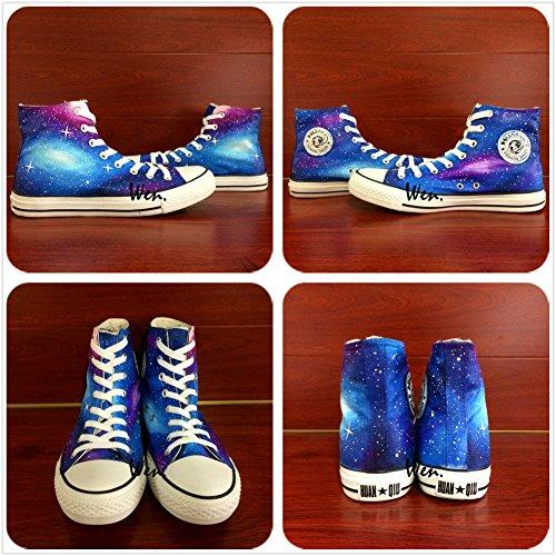 Wen Ontwerp Handgeschilderde Schoenen Galaxy Sterren Dames En Heren Canvas Volwassenen Sneakers
