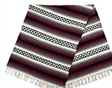 Mission Del Rey Old Mexican Style Woven Blanket with Traditional Designs & Colors 5'x7′ for beds, Yoga, Pic Nic, Travel and Rustic Home Decor (Wine) Review