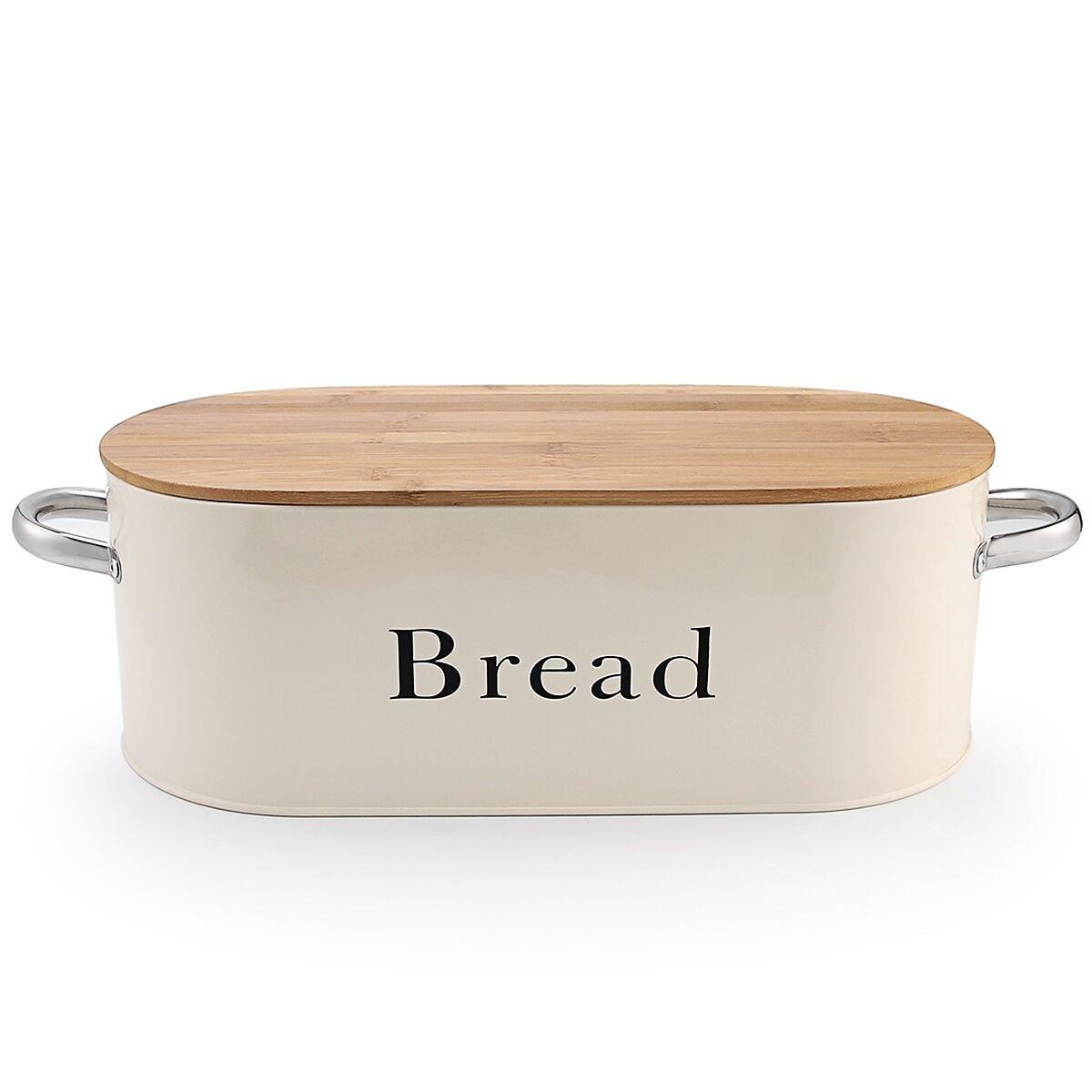 Tin bread box drawer insert - Svebake Bread Box Vintage Retro Metal Bread Bin With Bamboo Lid And Handle Cream Included A Free Pdf Baking E Book