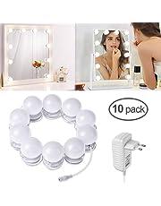 Luci da specchio trucco, LTPAG Kit Luci per Specchio Stile Hollywood, 10 LED lampadine specchio trucco dimmerabili con 3 modalità per lo specchio cosmetico, del tavolo di trucco, Comò