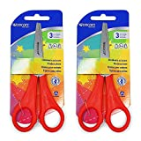 2 x Children's Kids Right Handed Scissors with Rulers Edge - Pointed Tip - Westcott Branded