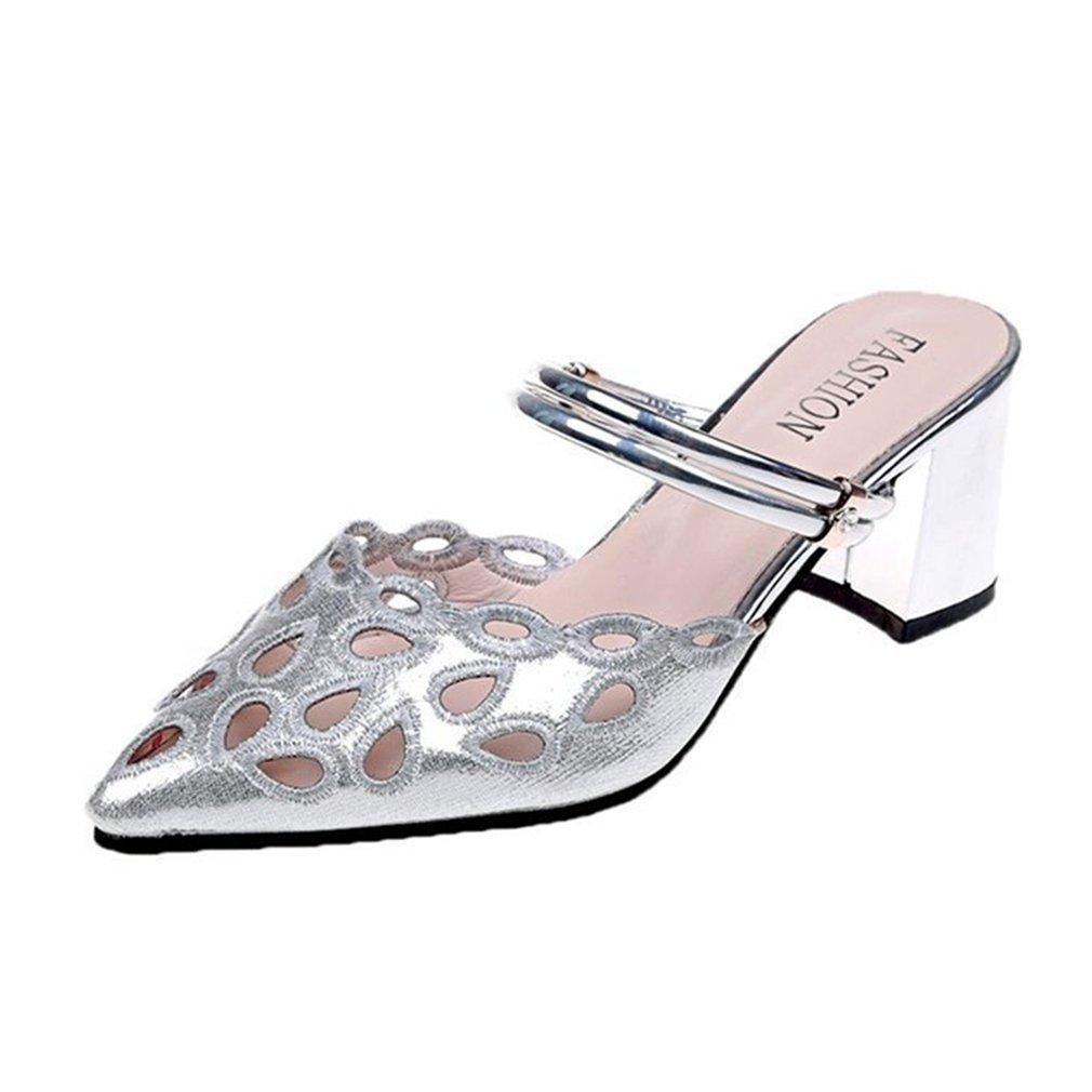 GIY Women's Glitter Strappy Block Chunky Heel Slide Sandals Close Toe Hollow Platform Mules Dress Pump