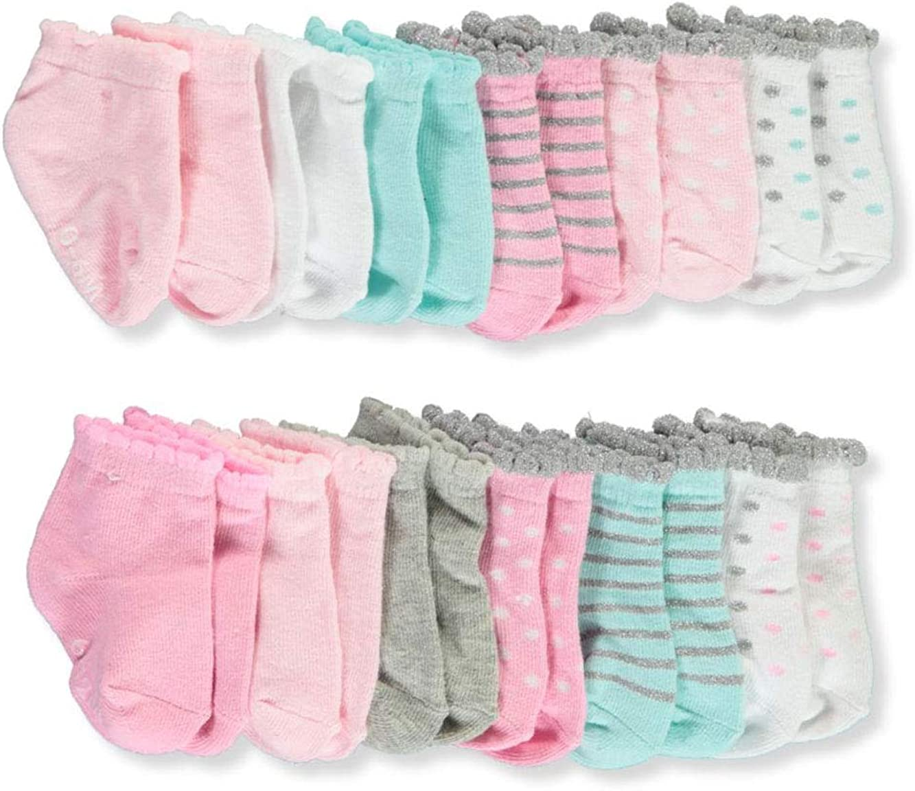 """Luvable Friends Baby Girls/' /""""Scalloped Cuffs/"""" 6-Pack Socks"""