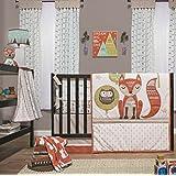 Little Haven Clever Fox 4 Piece Bed Set (Quilt, Dust Ruffle, Diaper Stacker, Sheet), Orange, Large