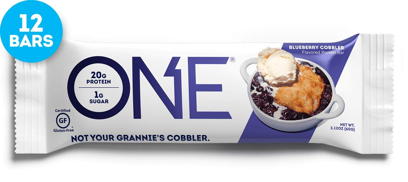 ONE Protein Bars, Blueberry Cobbler, Gluten Free Protein Bars with 20g Protein and only 1g Sugar, Guilt-Free Snacking for High Protein Diets, 2.12 oz (12 Pack) by ONE