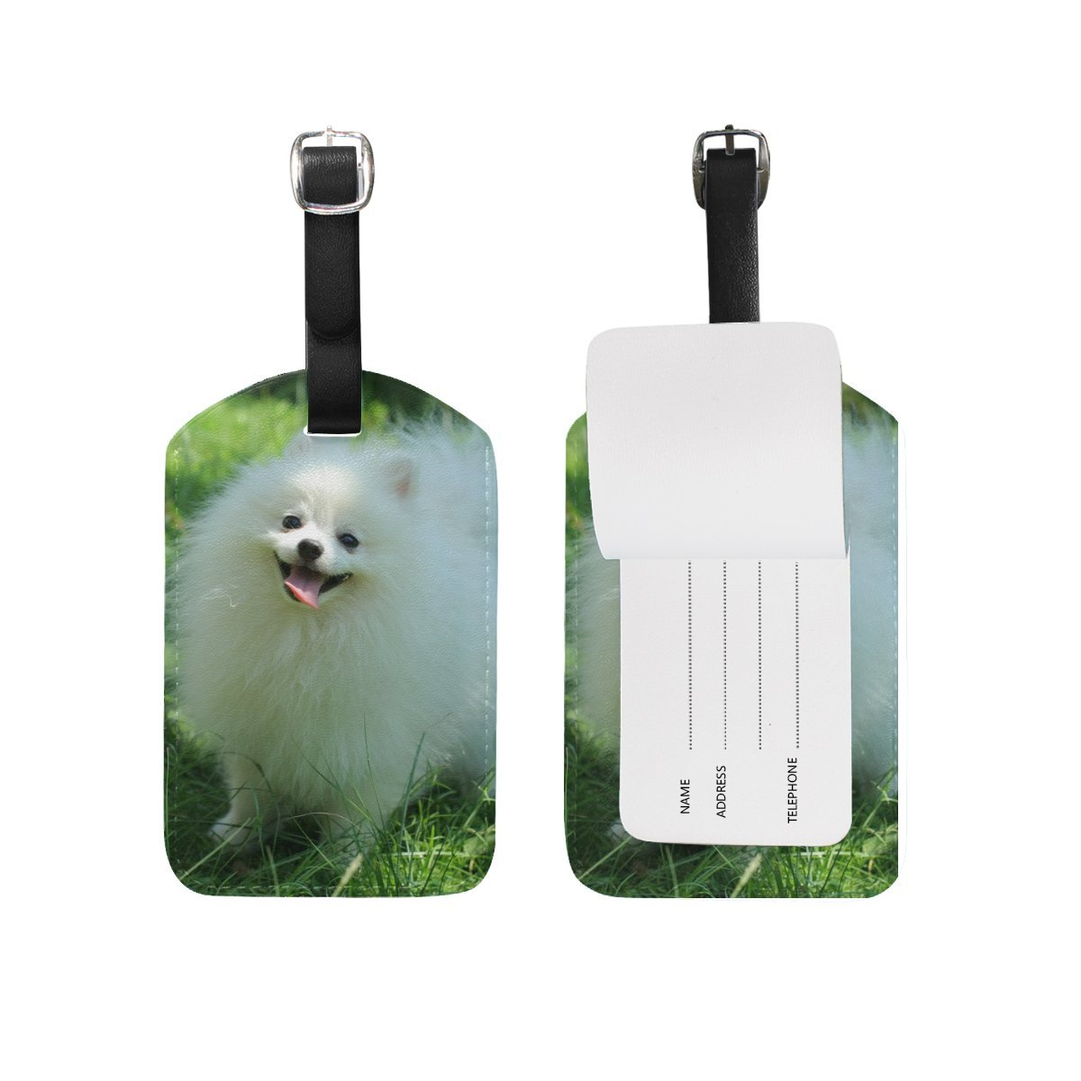 Animal Dog Pomeranian Small Fluffy Puppy Adorable Cute Pet Travel Genuine Leather Luggage Tags Id Labels Holders(2 Pcs Set)