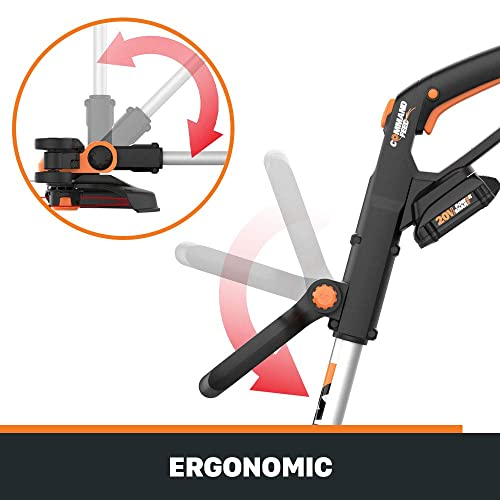 WORX WG163.9 20V Cordless Grass Trimmer Edger with Command Feed, 12 TOOL ONLY, battery and charger'sold'separately
