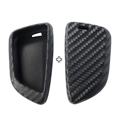 2Pack Silicone Carbon Fiber Pattern car Key case Cover Keychain for Smart BMW X1 X5 X6 2020 525i M760Li 740li 730 Sieries Accessories fob Shell Key Bag: Office Products