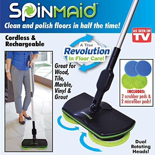 Smart Mop Replacement Heads (Super Maid 2018,Cordless Electric Spinning Mop,Rechargeable Powered Floor Cleaner Scrubber Polisher Mop, Handheld Vacuum Floor and Carpet Tile Sweeper bySuper MAid)