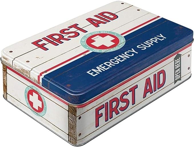 Diseño de Primeros Auxilios para Tarro de Caja metálica de Primeros Auxilios para Caja de Metal Plana: Amazon.es: Industria, empresas y ciencia