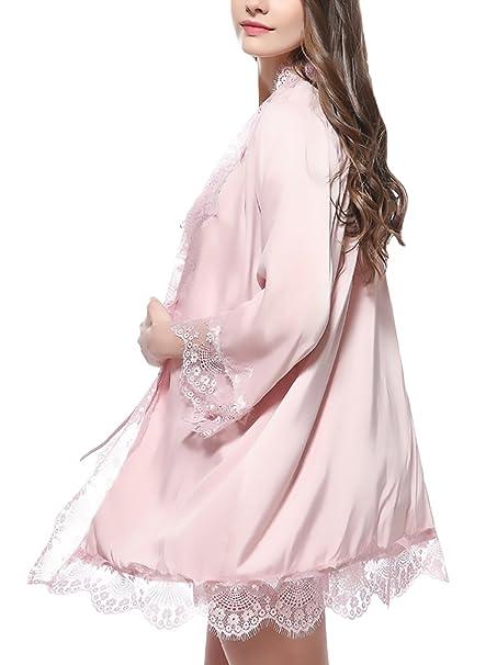 Saoye Fashion Batas Mujer Cortas Albornoz Kimono Color Sólido Elegantes Niñas Ropa Cómodos Suave Encaje Lace Pijama Camisones V Cuello con Cinturón: ...