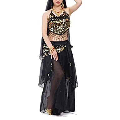 9fd587f00 BellyLady Halloween Belly Dance Costume, Halter Bra Top, Hip Scarf and  Skirt-Black