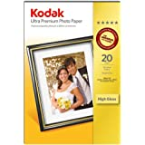 "5 Pack: Kodak Ultra Premium High Gloss Instant Dry Photo Paper 6x4"" (100 x 150 mm) 280 g/m2 for all Makes Inkjet Printers (100 sheets)"