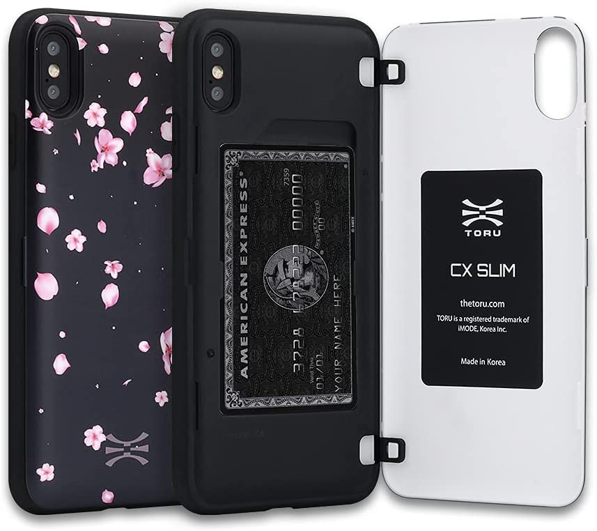 TORU CX Slim Compatible with iPhone Xs/iPhone X Wallet Case - Protective TPU Bumper and Floral Pattern Hard Cover Dual Layer with Hidden ID Slot Credit Card Holder - Sakura Flowers