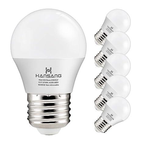 Hansang A15 Led Bulb Light 6 Watt 60w Equivalent E26 Base G45
