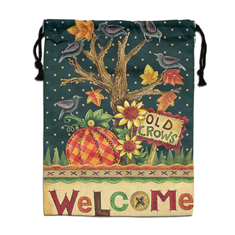 Custom Drawstring Bag,Welcome-Fall Holiday/Party/Christmas Tote Bag 15.7(H)x 11.8(W) in