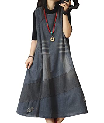 7526b80c612 YESNO YL6 Women Long Maxi Denim Overalls Dress Swing Skirt Color Block  Stitched Scratch Distressed Unique Back Design  Amazon.co.uk  Clothing