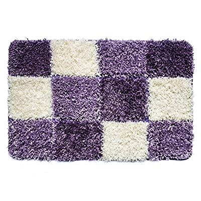 Uphome Geometric Series Checkered Microfiber Bath Accent Rug - Non-slip Soft Decorative Bathroom Doormat Kitchen Mat